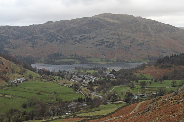Glenridding village with Place Fell behind