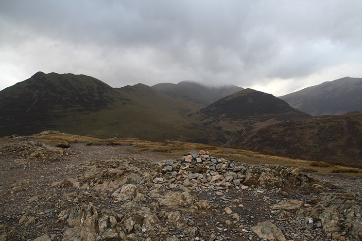 Causey Pike, Scar Crags, Sail, Eel Crag (in cloud), Outerside and Grisedale Pike's southwest top from Barrow's summit