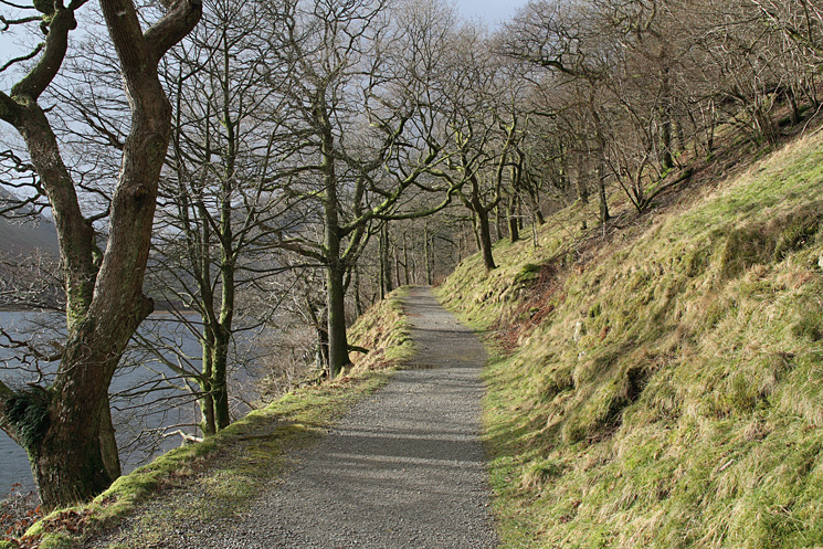 The track to Hartsop Hall from Cow Bridge along the side of Brothers Water