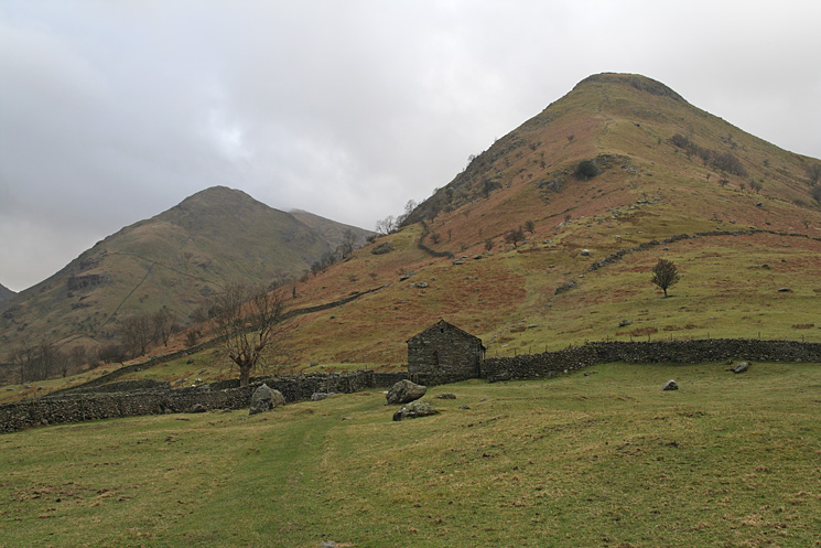 High Hartsop Dodd, just climb straight up the nose! Middle Dodd on the left