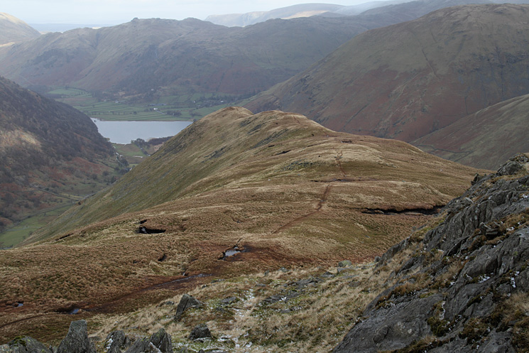 Looking back down on High Hartsop Dodd from Little Hart Crag