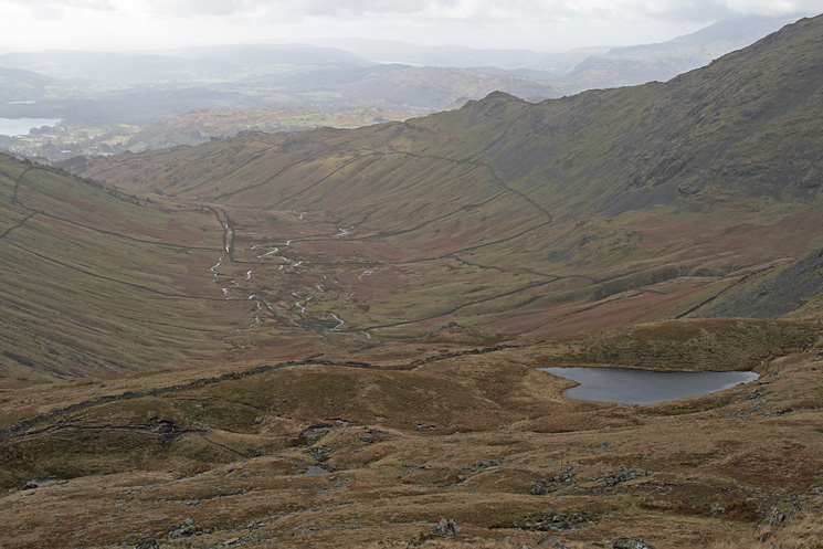 Scandale, Low Pike and Scandale Tarn from Little Hart Crag's summit