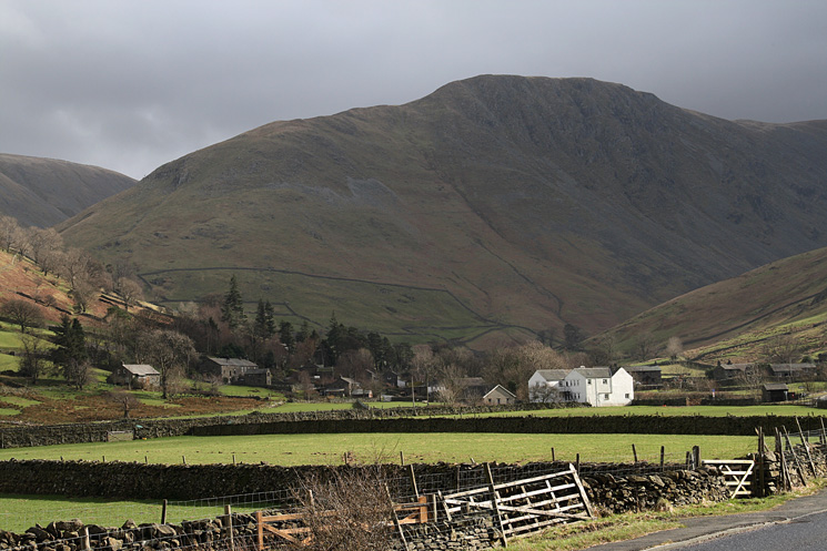Hartsop with Gray Crag behind from Cow Bridge car park