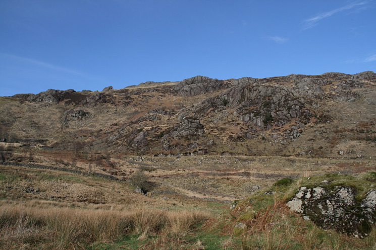 The way ahead up Harter Fell. We are aiming for Maiden Castle, the pointy rocky outcrop on the skyline left of centre