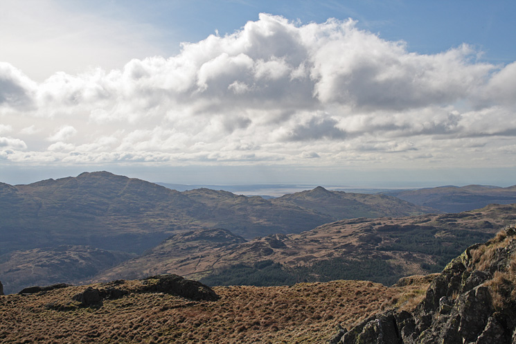 The view south with Caw on the left and the pointed Stickle Pike right of centre