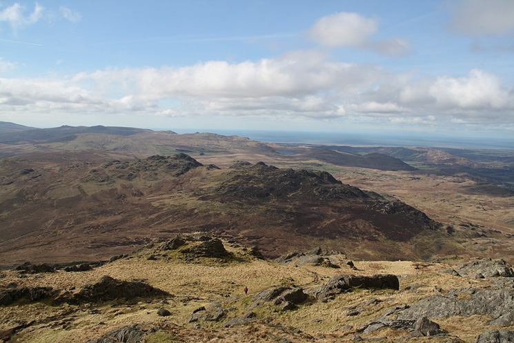 Looking over Green Crag to the Devoke Water fells from Harter Fell's summit