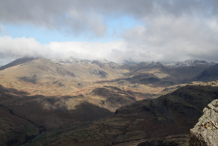 Upper Eskdale with the tops still in cloud