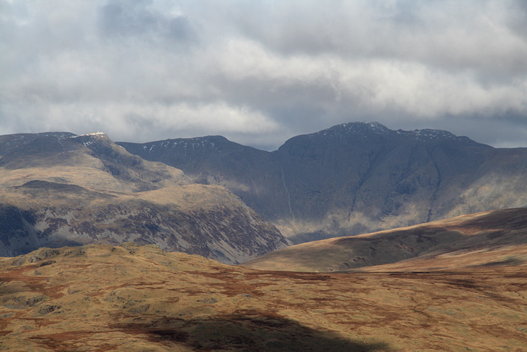 Yewbarrow with Red Pike behind catch some sun while Black Crag and Pillar are in shadow