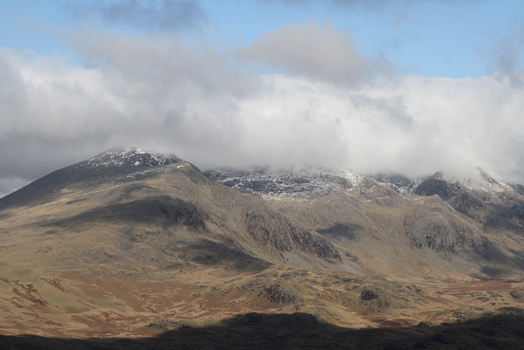Scafell (on the left) nearly out of the cloud