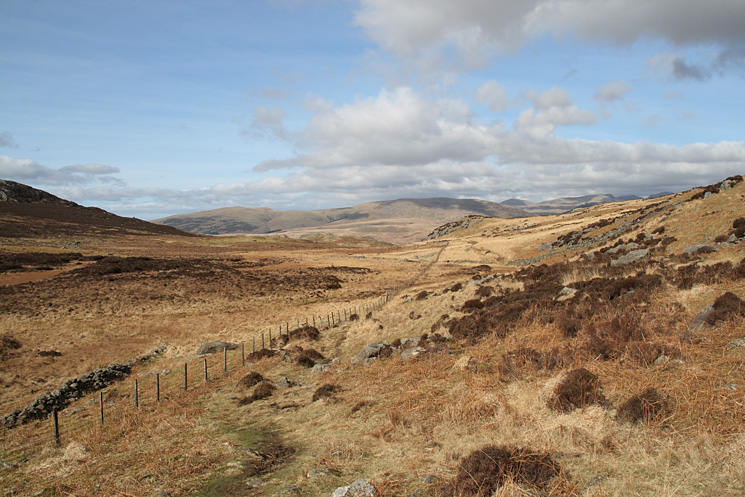 Looking north west towards Whin Rigg and Illgill Head from the Jubilee Bridge (Eskdale) to Grassguards (Duddon) path
