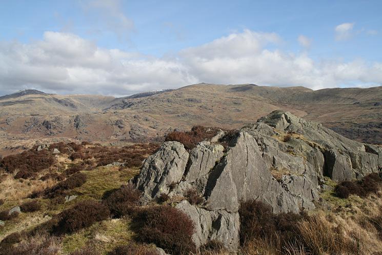 The Coniston Fells from Wallowbarrow Crag's summit