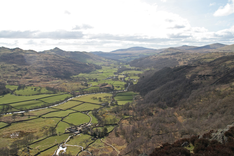 Looking south down the Duddon valley with Black Combe in the distance