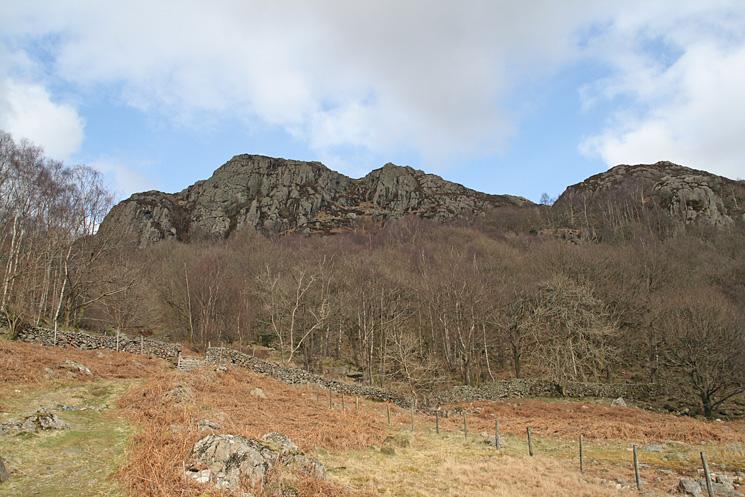 Wallowbarrow Crag from the track down to High Wallowbarrow