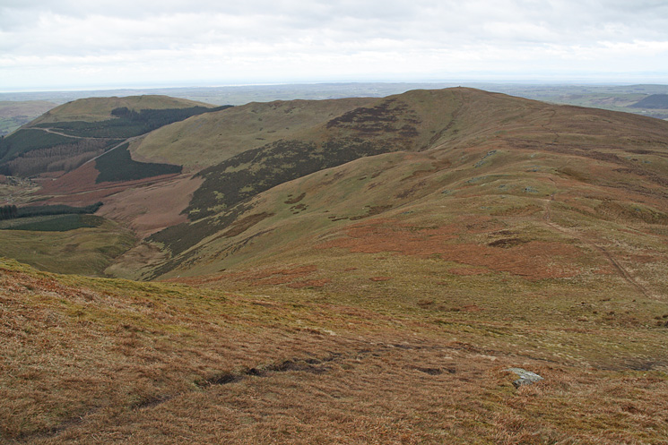 Looking back to Broom Fell from Lord's Seat with Graystones beyond on the left