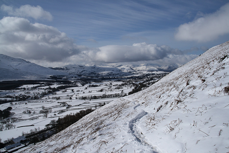 The view to the south west as we head up to Scales Fell