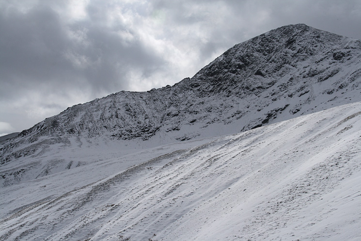 Looking up at Sharp Edge and Foule Crag