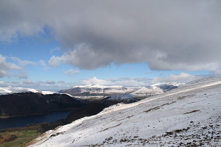 The foot of Thirlmere, Skiddaw and Blencathra as we ascend the Browncove Crags path