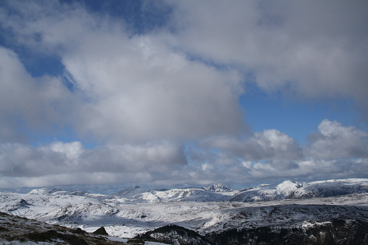 Looking towards the central fells with Scafell Pike on the far left, Great Gable left of centre and Pillar right of centre