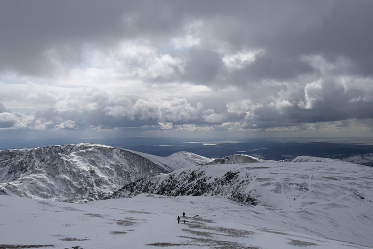 The ridge to the south with the flat topped Nethermost Pike the next summit, Fairfield on the left