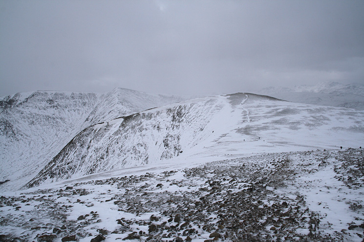 Looking back to White Side from Raise with Helvellyn behind on the left