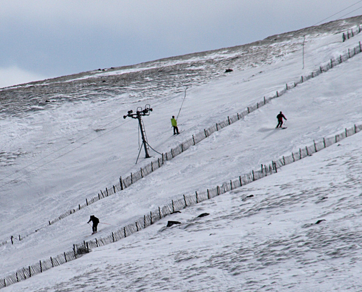 Zooming in on some skiers