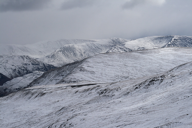 Looking over Birkhouse Moor to High Street, Gray Crag, Thornthwaite Beacon and Caudale Moor