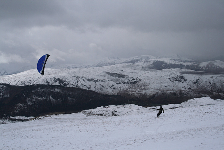 Kite boarding on Clough Head