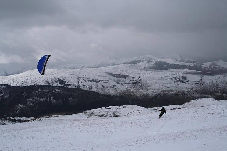 Kite boarding on Clough Head