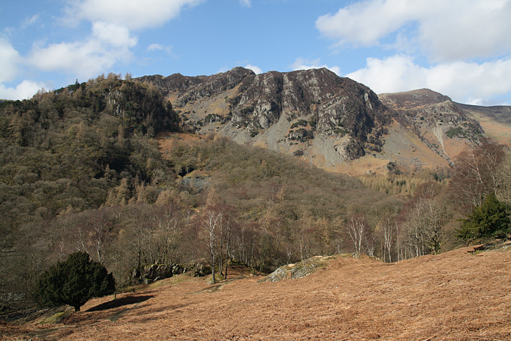 Looking across to the wooded Castle Crag and High Spy