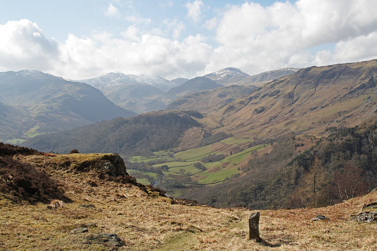 Upper Borrowdale, still some snow of Great End, Scafell Pike and Great Gable