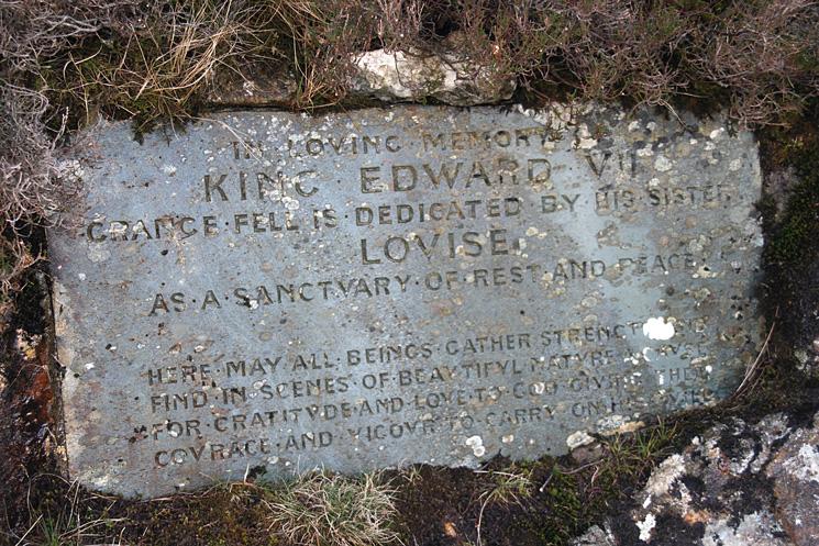 King Edward VII memorial plaque, King's How, Grange Fell