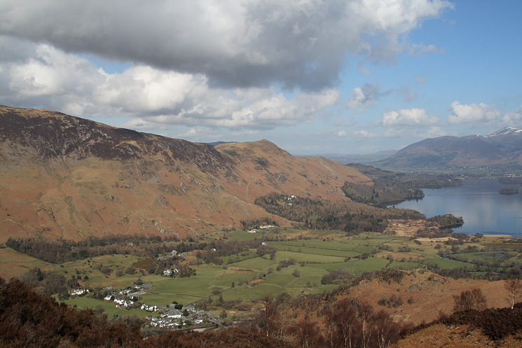 Looking over the village of Grange to the pointed Catbells