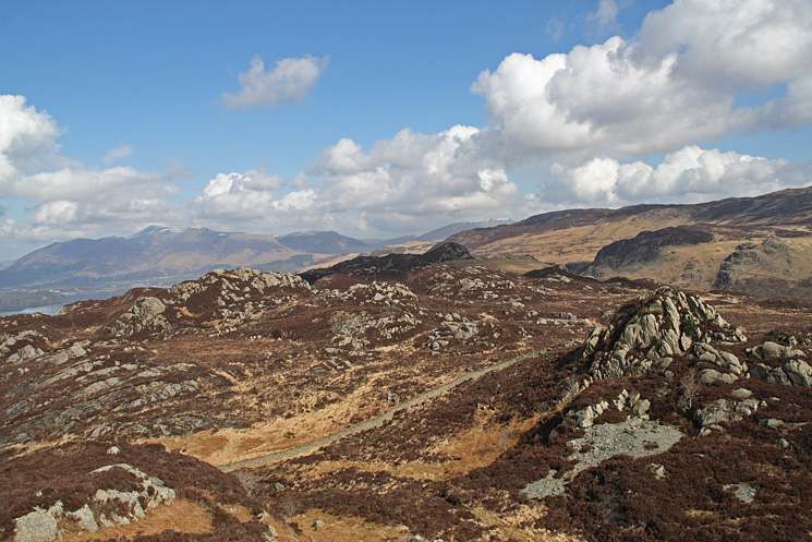 Jopplety How (near right) and the ridge to Ether Knott (in shadow, centre) from Brund Fell