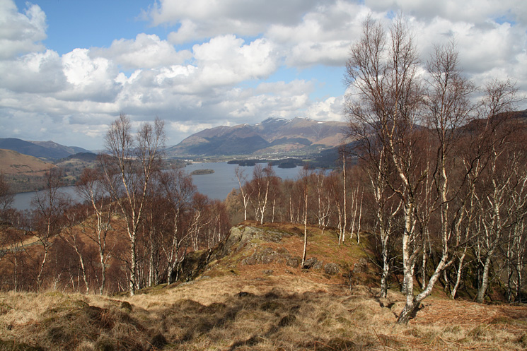 Derwent Water and Skiddaw as I take a twisting route down through Comb Crags