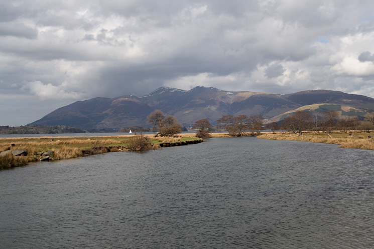 Skiddaw from the bridge over the River Derwent