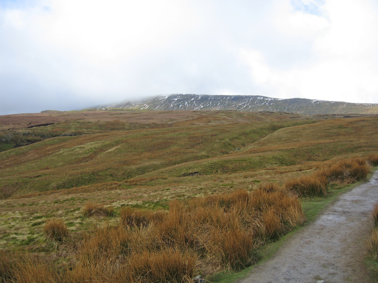 Whernside with its top still in cloud but it looks as if the cloud is lifting