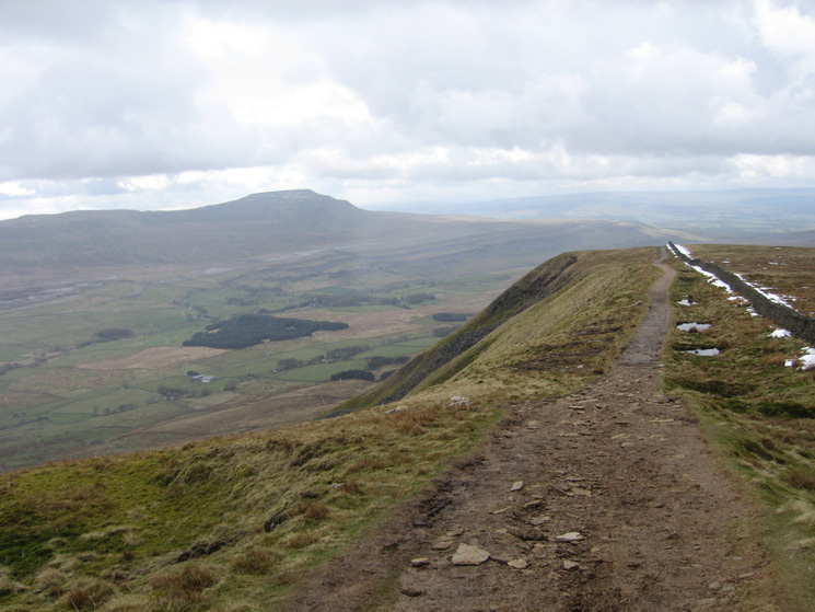 Whernside's south ridge with Ingleborough in the distance