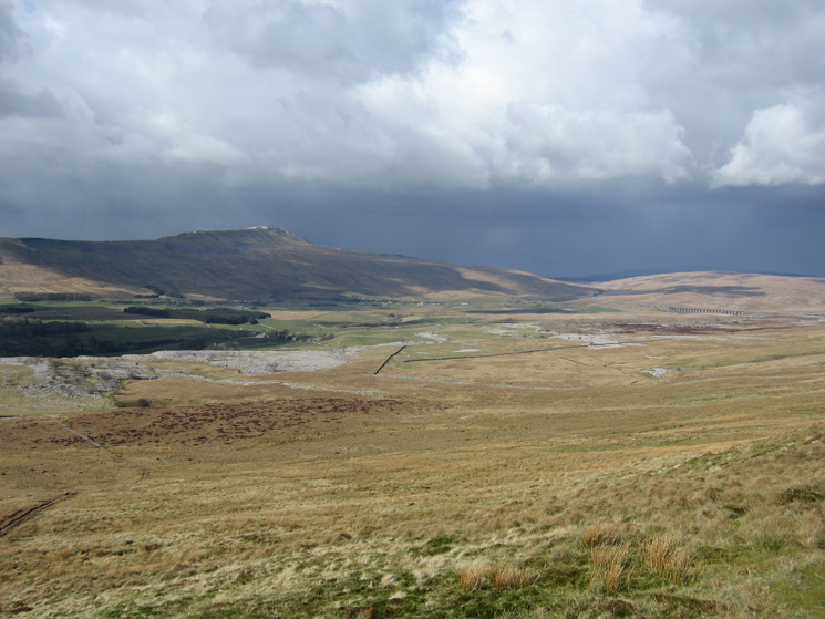 Whernside with Ribblehead Viaduct on the right