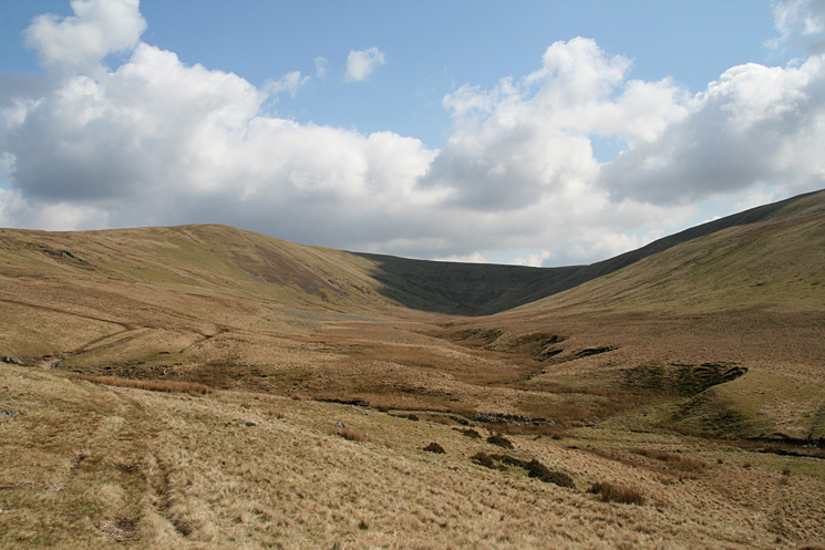 Looking back up the valley to the col between Whoap (left) and Lank Rigg (right)
