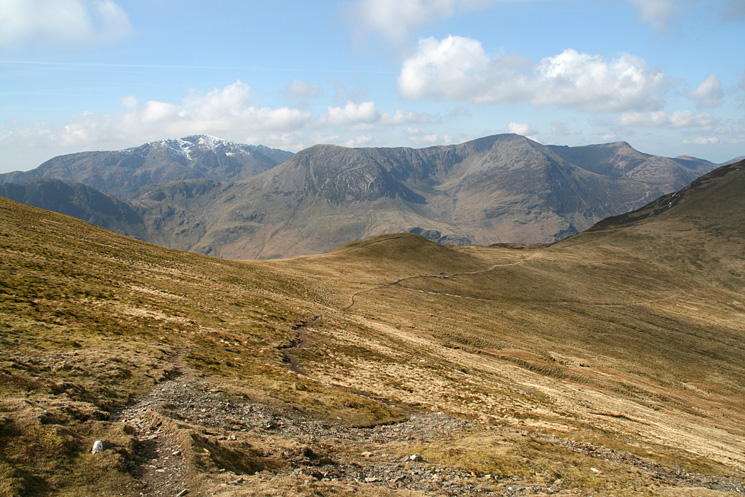 Pillar and the High Stile ridge from the ascent of Hindscarth