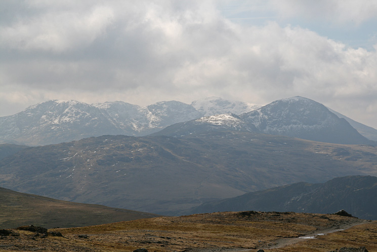 Great End, Ill Crag, Broad Crag, Scafell Pike behind Green Gable, and Great Gable from Hindscarth's summit