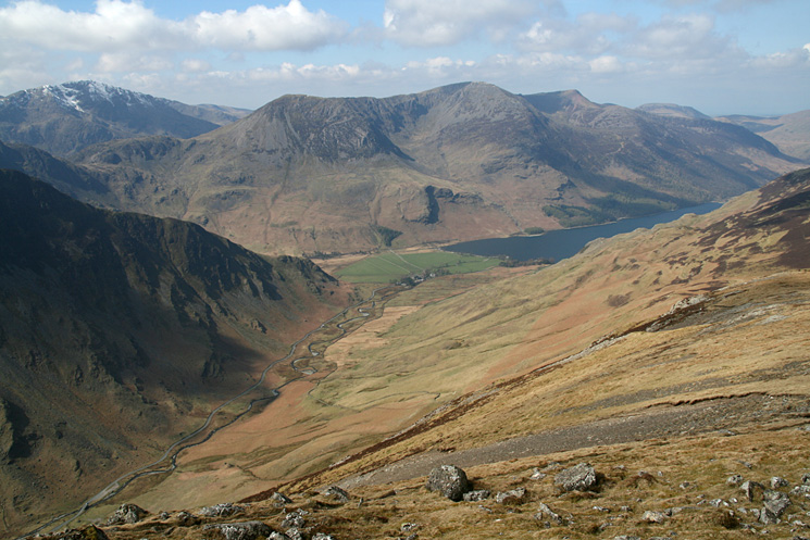 Gatesgarthdale Beck below, the bottom of Fleetwith Edge, Pillar, the High Stile Ridge and Buttermere from the ascent of Dale Head