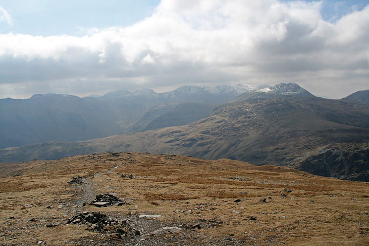 Looking south to Bowfell, Esk Pike, the Scafells and Great Gable from the Dale Head to Honister Pass path