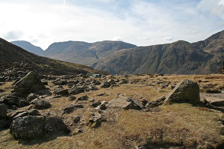 The top of Great Gable, Kirk Fell and Looking Stead from Scarh Gap