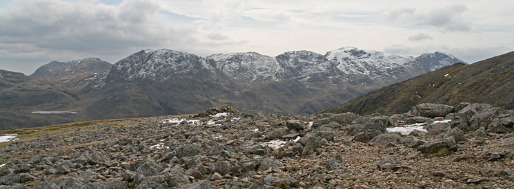 Esk Pike, Great End, Ill Crag, Broad Crag, Scafell Pike and Scafell from Green Gable's summit