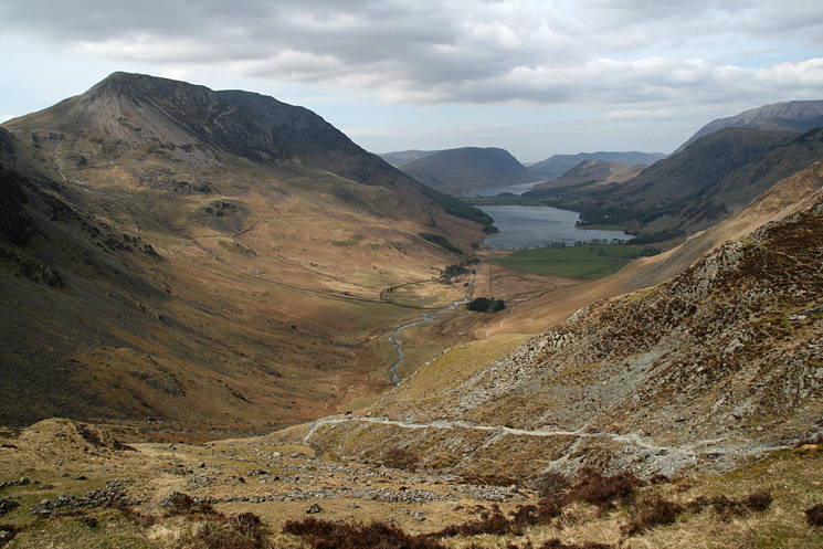 The view down the Buttermere valley from the bothy