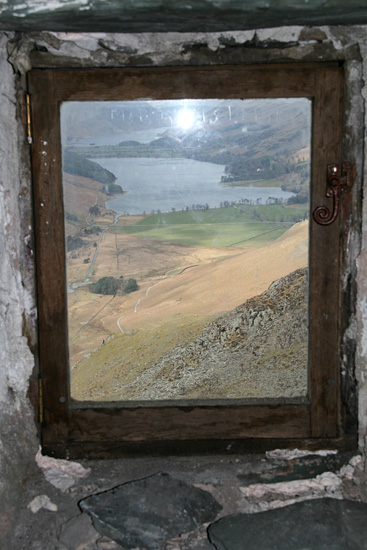 Buttermere seen out the window of Warnscale Head bothy