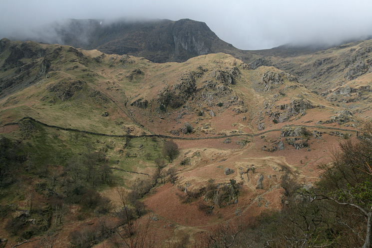 Looking up Dovedale to Dove Crag