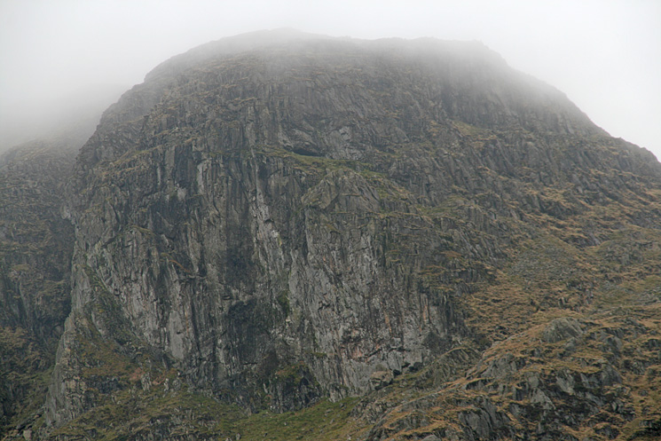 Zooming in on Dove Crag. The black horizontal slit is Priest's Hole cave