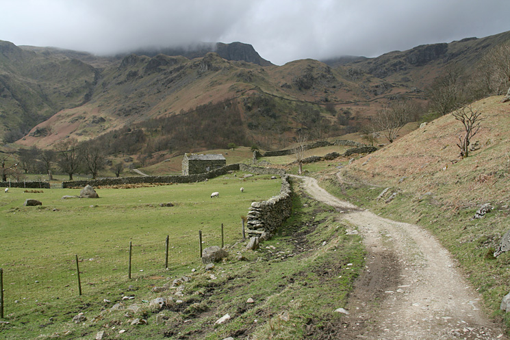 Looking back up Dovedale towards Dove Crag